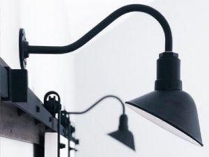 Matte Black Venice Light above Farmhouse barn door