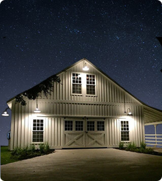 Gooseneck Lights on Barn at Night
