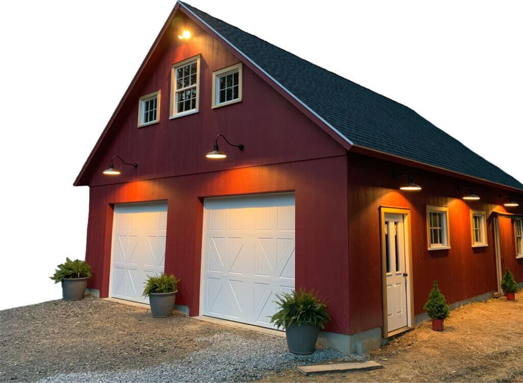 Toponga Garage Light Fixtures on red exterior garage.