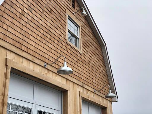 The Gardena Wall Mounted Gooseneck Light Fixture in Galvanized by Steel Lighting Co.